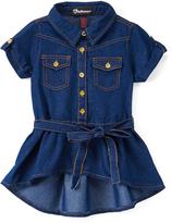 Dollhouse Dark Wash Denim Short-Sleeve Tunic - Girls