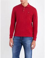 Armani Jeans Logo-embroidered cotton-blend polo sweatshirt