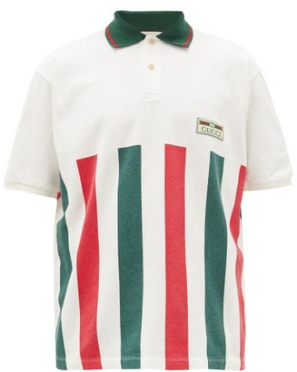 Gucci Logo-patch Web-stripe Cotton Polo Shirt - Mens - White Multi