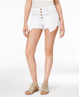 Rampage Juniors' White Wash Ripped Denim Shorts