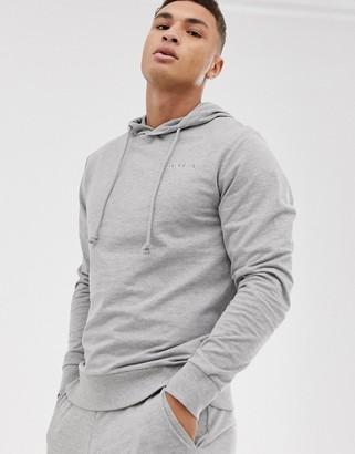 Jack and Jones Originals chest branding overhead hoodie-Grey