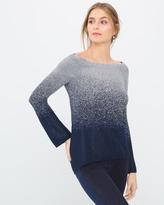 White House Black Market Petite Shimmer Ombre Pullover