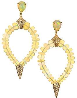 Etho Maria Women's Misty 18K Yellow, Opal & Brown Diamond Beaded Teardrop Earrings