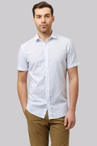 Moss Bros Slim Fit White Linen Short Sleeve Printed Casual Shirt
