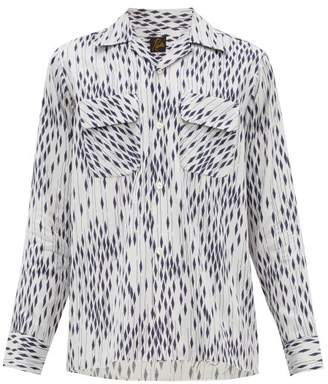 Needles Geometric-print Technical-faille Shirt - Mens - Blue White