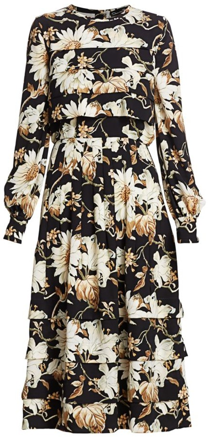 Oscar de la Renta Floral Panel Tiered Midi Dress