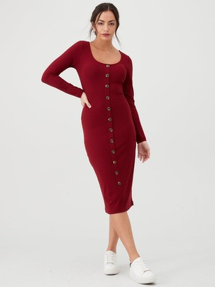 Very Jersey Ribbed Button Front Midi Dress - Berry