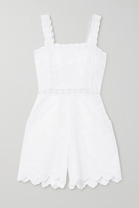 Charo Ruiz Ibiza Zuma Crocheted Lace-trimmed Broderie Anglaise Cotton-blend Playsuit - White