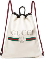 Gucci Printed Textured-leather Backpack - White