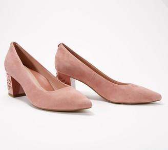 Taryn Rose Suede Pumps with Heel Detail - Marigold