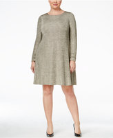 Jessica Howard Plus Size Shimmer Chevron Ruched Dress