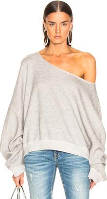 R 13 Off Shoulder Patti Sweatshirt in Heather Grey | FWRD