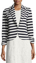 Neiman Marcus Ruched-Sleeve Striped Jacket, Blue/White