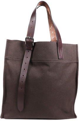 Hermes Green Leather & Fabric Toile Etriviere Shopping Tote