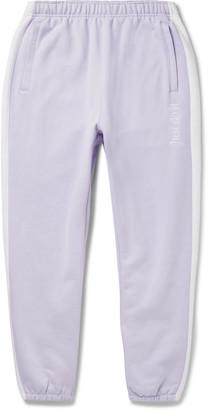 Nike Wide-leg Logo-embroidered Fleece-back Cotton-blend Jersey Sweatpants - Purple