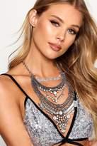 boohoo Maisie Boutique Statement Diamante Necklace silver