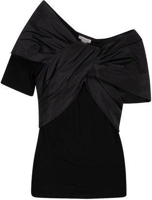 Alexander McQueen Bow-embellished cotton T-shirt