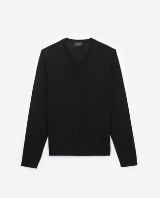The Kooples Slim black wool V-neck sweater with piping