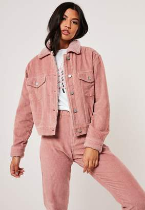 Missguided Blush Co Ord Borg Collar Jumbo Cord Jacket