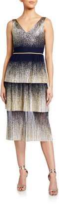 Marchesa V-Neck Pleated Foil Degrade Tiered Cocktail Dress