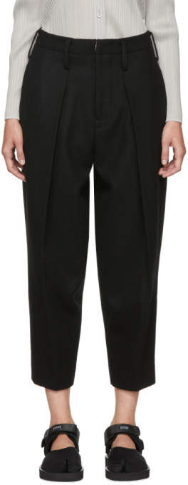 Y's Ys Black Big Tuck Trousers