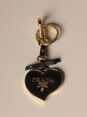 Prada Trick Key Ring In Saffiano Leather And Metal
