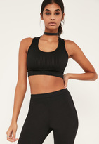 Missguided Black Ribbed Sleeveless Crop Top