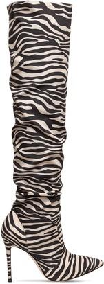 Gianvito Rossi 105mm Zebra Print Satin Crepe Boots