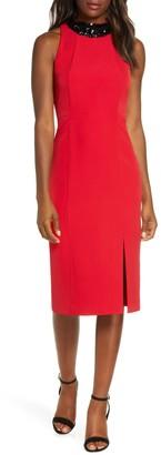 Taylor Paillette Neck Sheath Dress