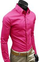 OCHENTA Men's Slim Fit Cotton Point Collar Solid Dress Shirt