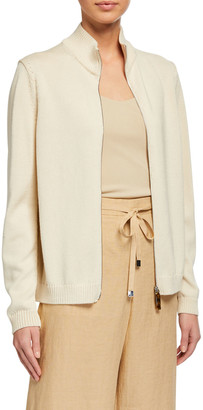 Lafayette 148 New York Cotton/Silk Tape Fitted Bomber Sweater