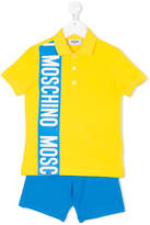 Moschino Kids logo tape polo shirt and shorts set