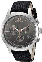 88 Rue du Rhone Men's 'Rive' Swiss Quartz Stainless Steel and Leather Dress Watch, Color:Black (Model: 87WA154306)