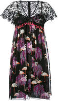 Giamba flamingo print V-neck dress