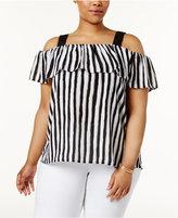 Love Scarlett Plus Size Striped Off-The-Shoulder Top