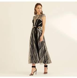 Amanda Wakeley Champagne Metallic Embroidery Cap Sleeve Dress