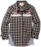 Hannah Banana Mixed Media Button Up Plaid Shirt (Big Girls)