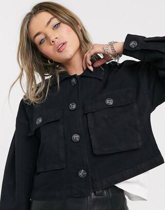 Bershka canvas jacket with pocket detail in black