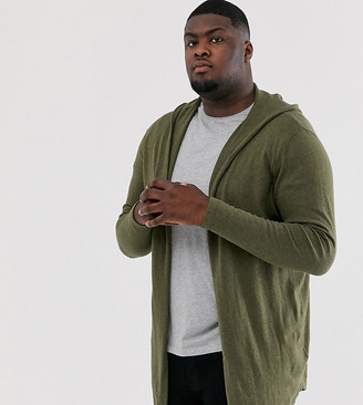 Asos Design DESIGN Plus hooded open front cardigan with curved hem in khaki-Green