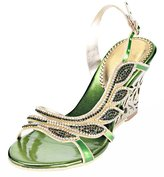 Honeystore Women's Leaf Shaped Rhinestone Handmade Wedge Sandals