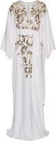 Oscar de la Renta Metallic Appliquéd Silk Crepe De Chine Gown - Ivory