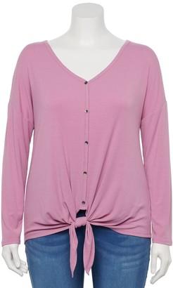Plus Size EVRI Long Sleeve Knot-Front Shirt