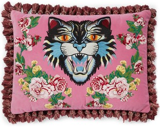 Gucci Angry Cat embroidered pillow