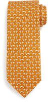 Salvatore Ferragamo Hummingbird-Print Silk Tie, Orange