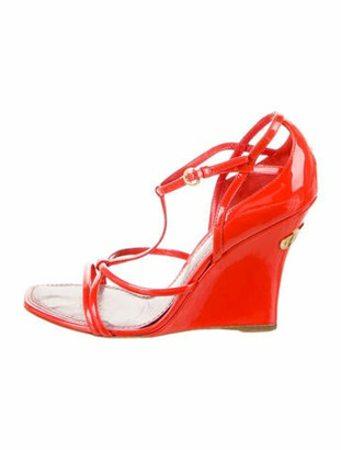 Louis Vuitton Patent Leather T-Strap Sandals Red