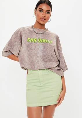 Missguided Mint Green Stretch Denim Mini Skirt