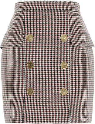 Balmain Button Detail Houndstooth Mini Skirt