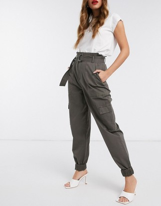 Vero Moda cargo trousers with belted waist in khaki
