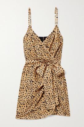 Vix Lassi Lyssa Wrap-effect Printed Voile Mini Dress - Beige