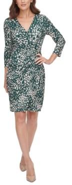 Jessica Howard Petite Printed Faux-Wrap Dress